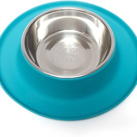 Messy Mutts Messy Mutts Silicone Feeder with Stainless Bowl 1.5 Cups, Med, Blue