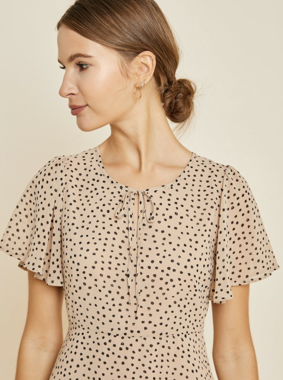 Dotted Midi Swing Dress