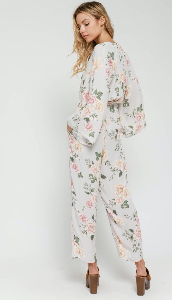 Grey Floral Belted Jumpsuit