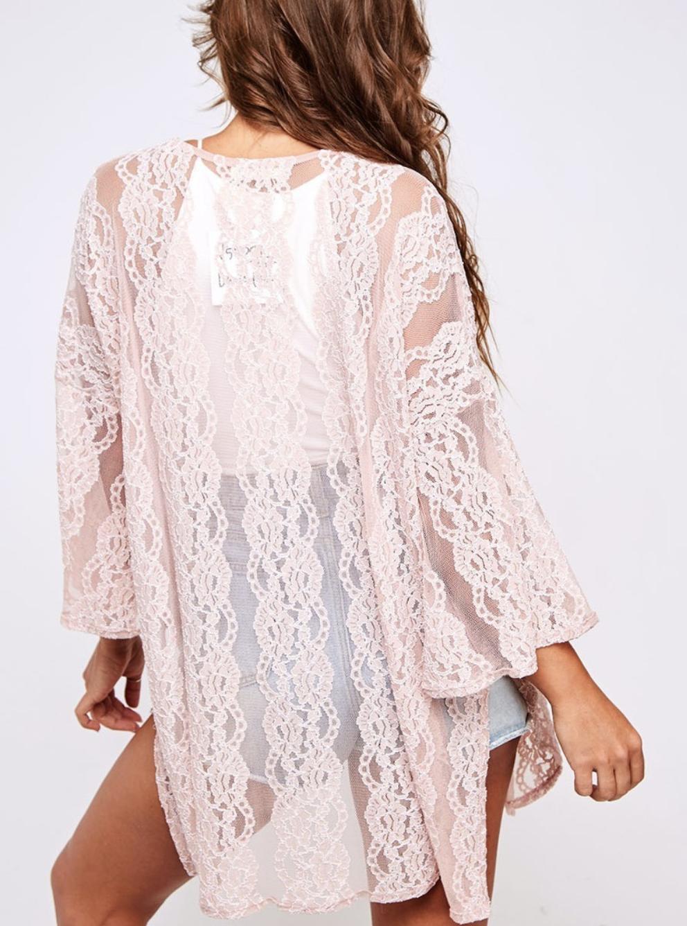 Lace Knit Kimono Jacket