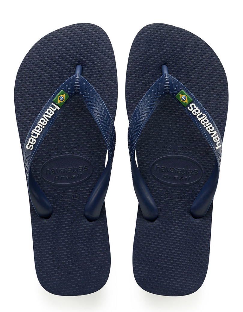 MEN'S BRAZIL LOGO FLIP FLOPS NAVY BLUE