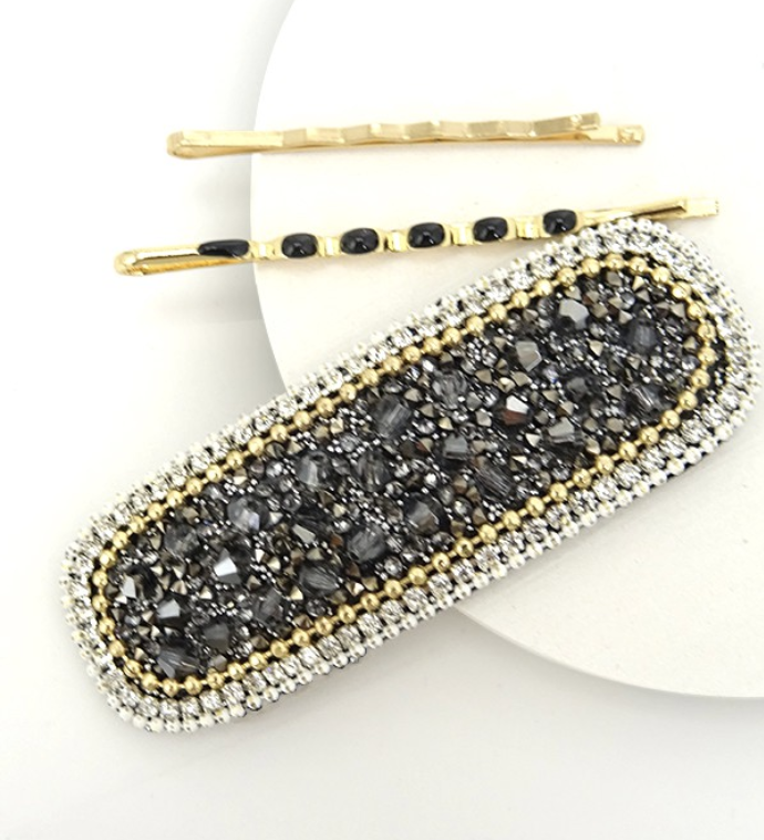 Beaded Clip & 2 Bobby Pin Set