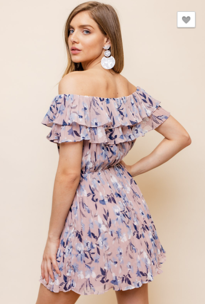 Floral Chiffon OTS Dress