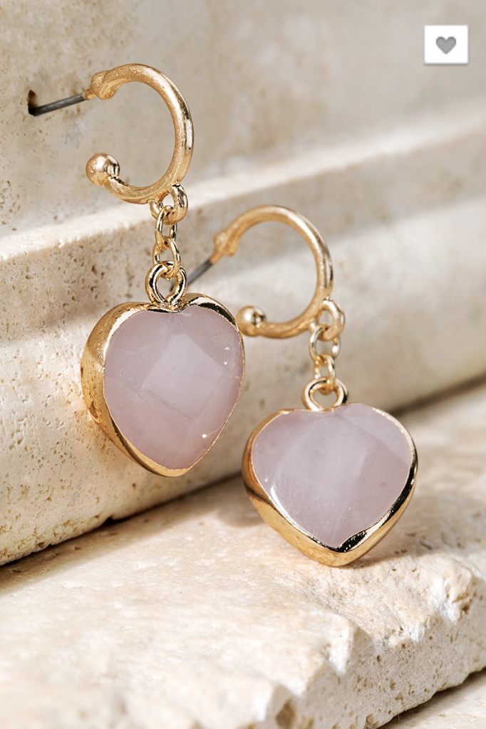 Pink Heart Shape Stone Earrings