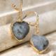 Grey Heart Shape Stone Earrings