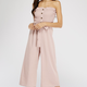 Smocked Belted Button Front Jumpsuit