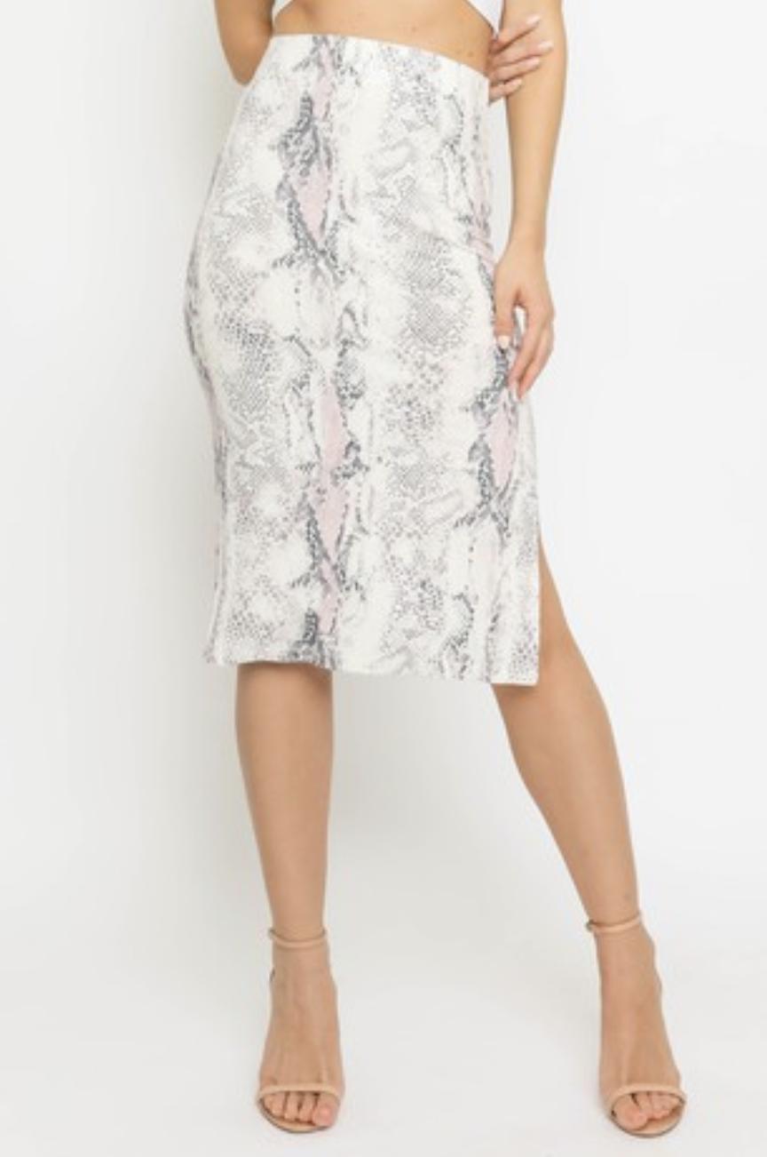Blush Snake MIdi Skirt