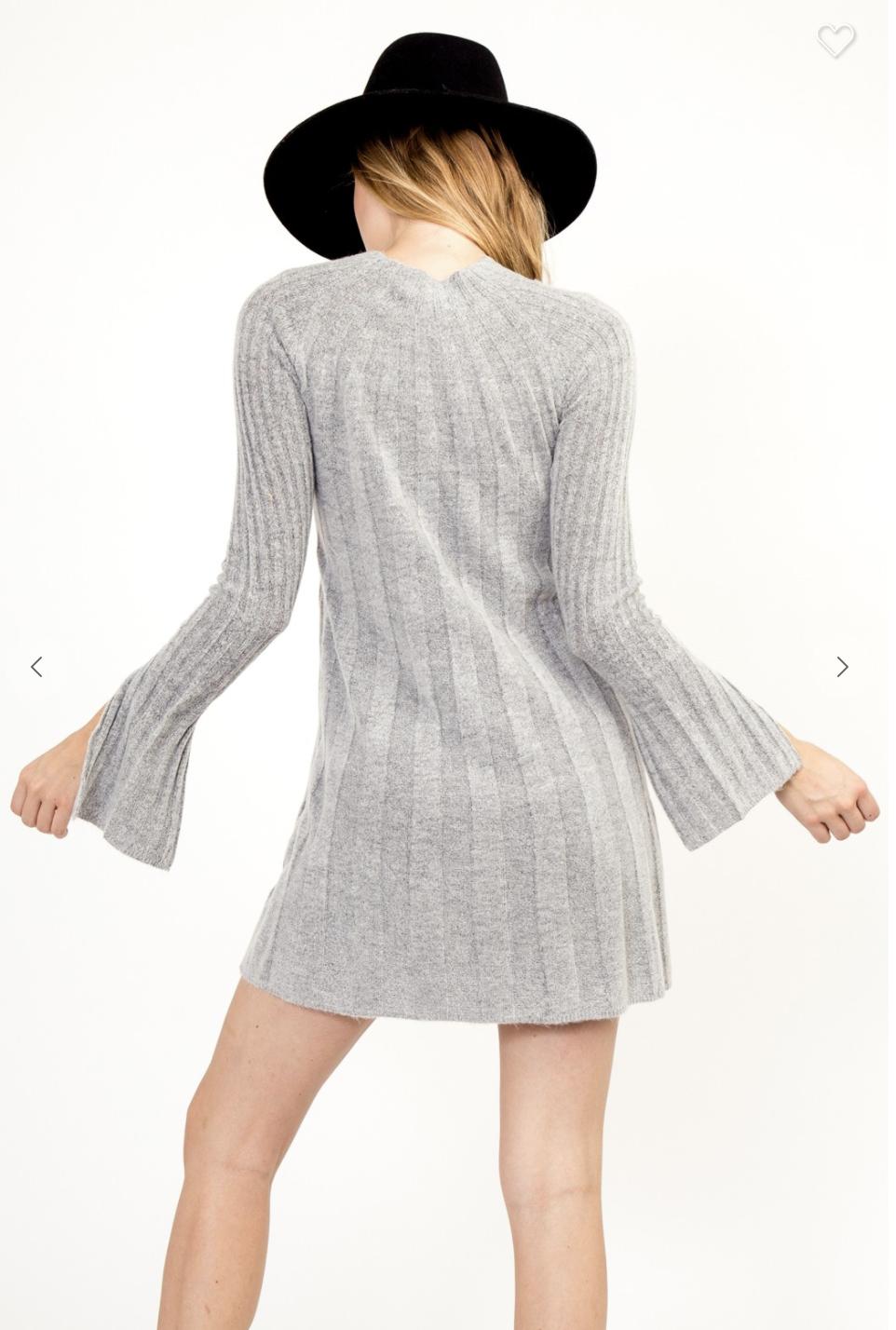 Fuzzy Ribbed Sweater Dress