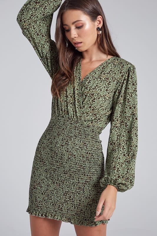 Green Floral Smocked Dress