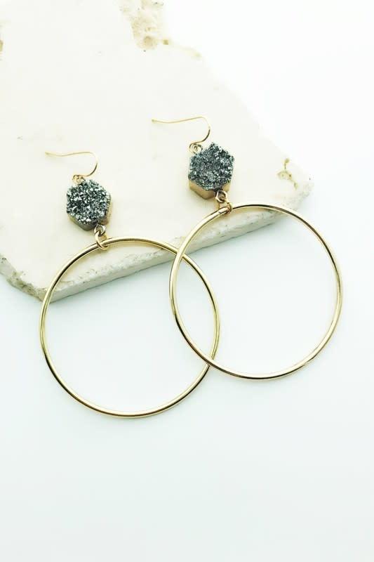 Stone Ring Earring
