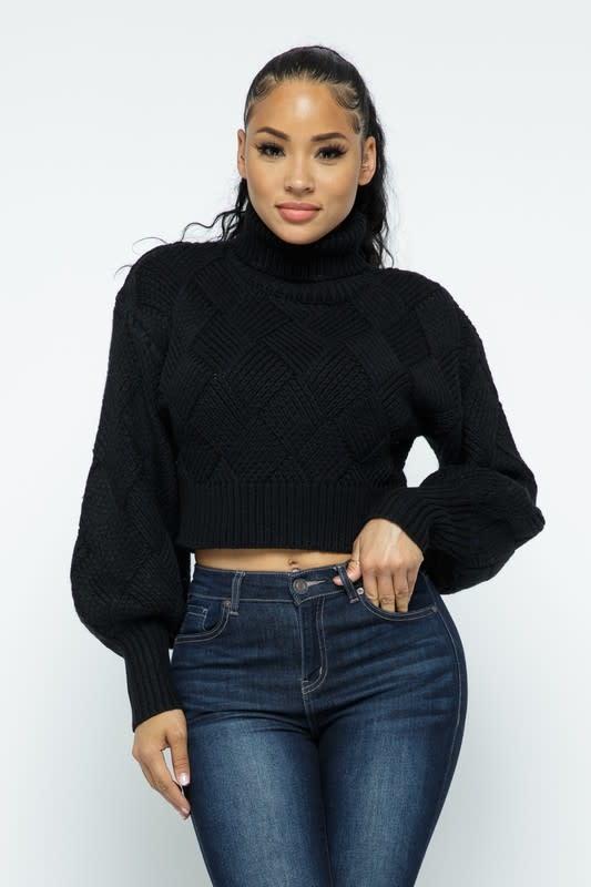 Turtleneck Checkered Sweater