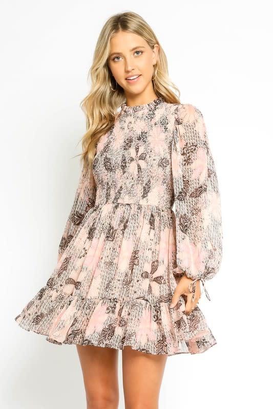 Blush Lurex Smocked Dress