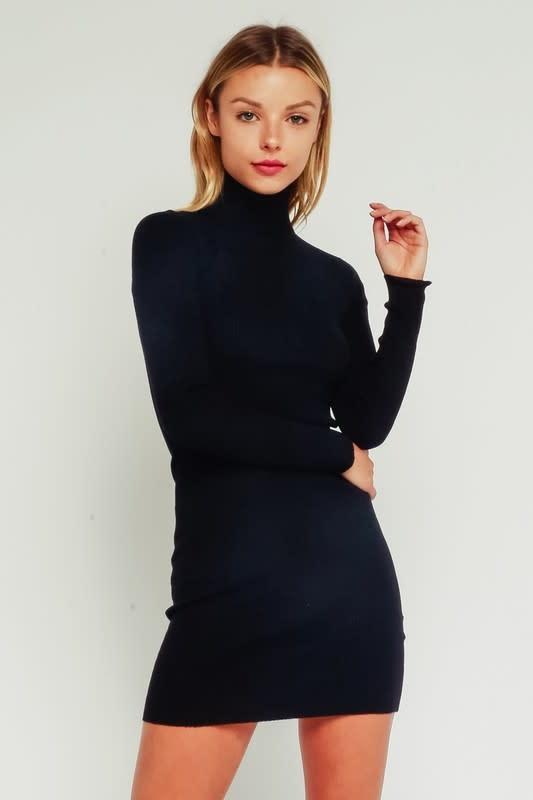Ribbed Turtleneck Sweater Dress