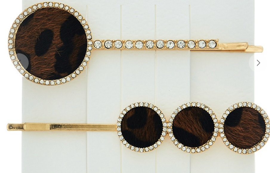 Brown Leopard Bobby Pin Set