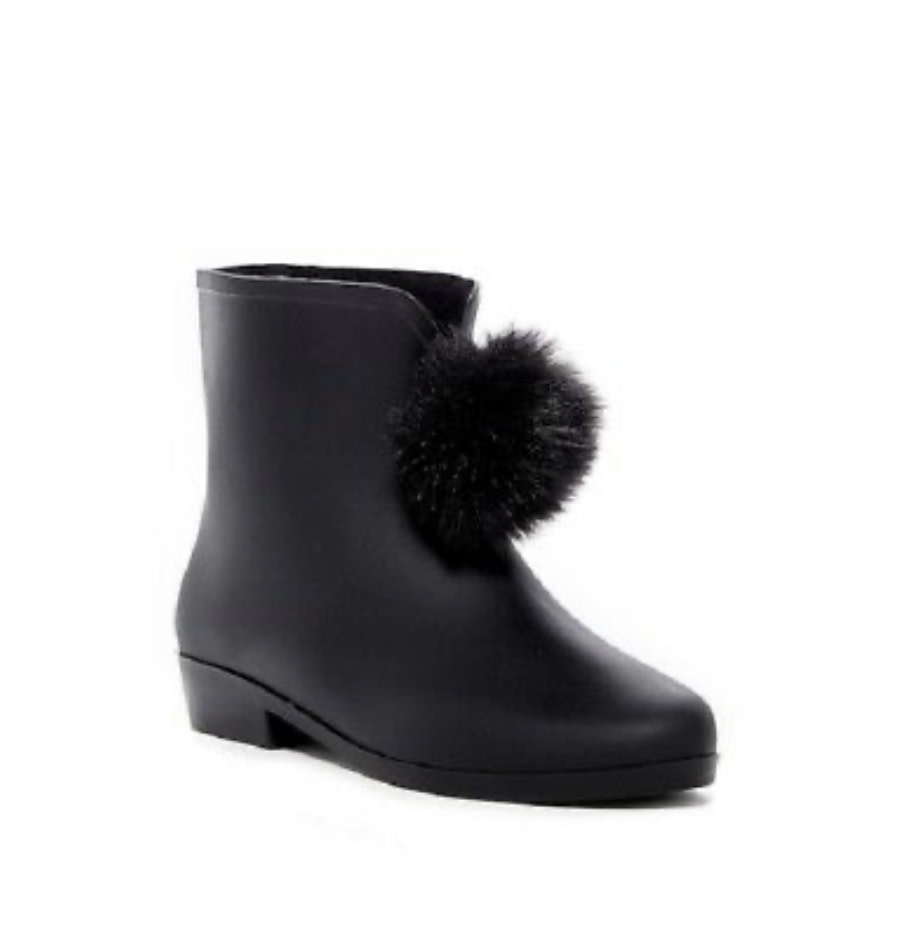 Picabow Pompom Black Rain Boot