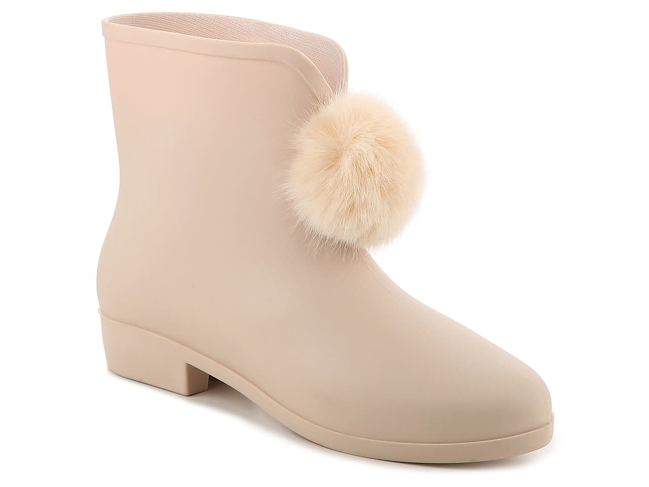 Picabow Pompom Beige Rain Boot