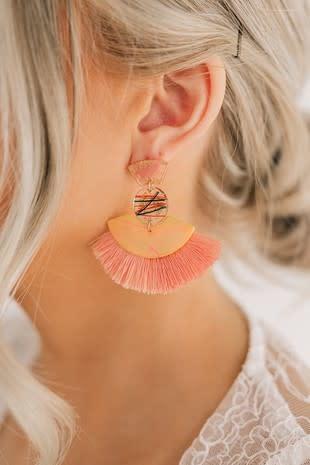 Peach Resin Tassel Earring