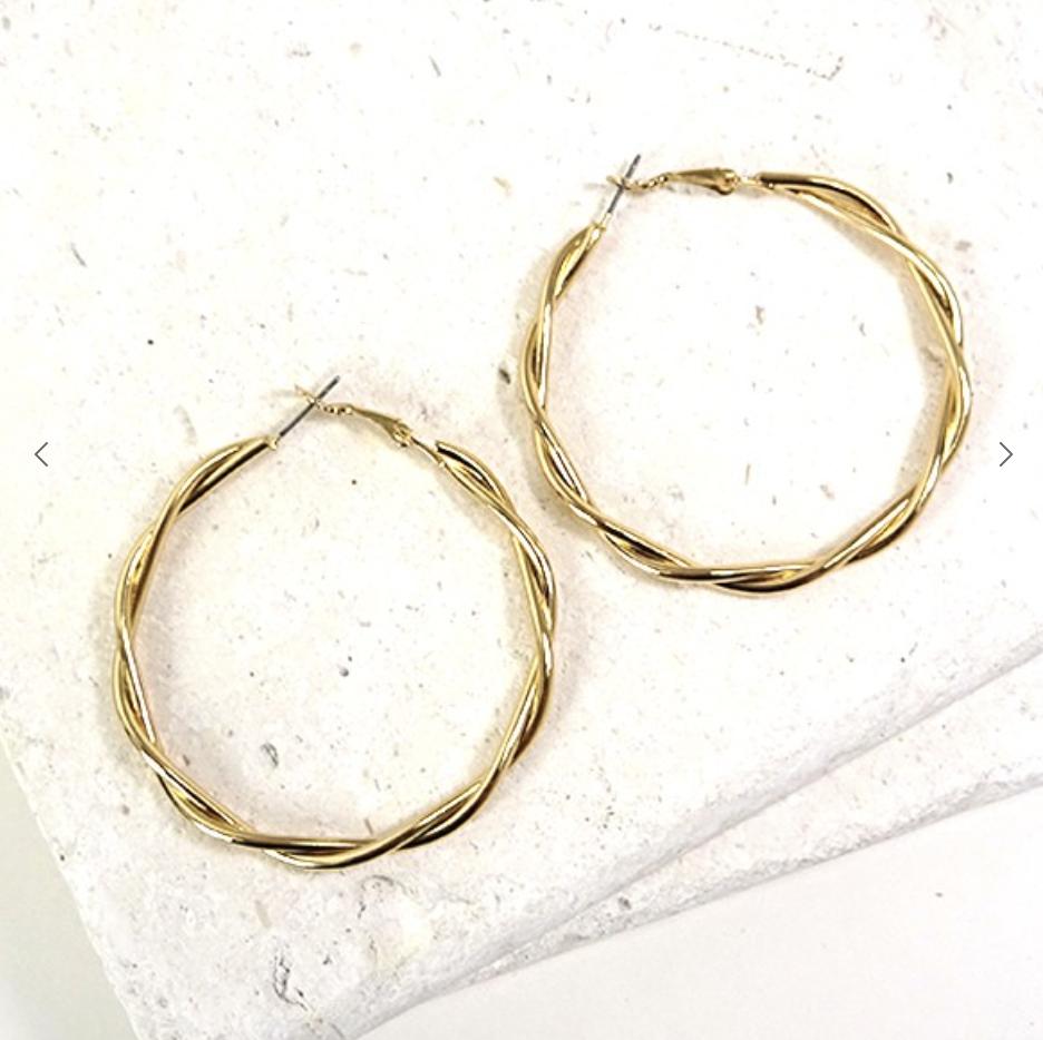 Gold Twisted Hoop Earring