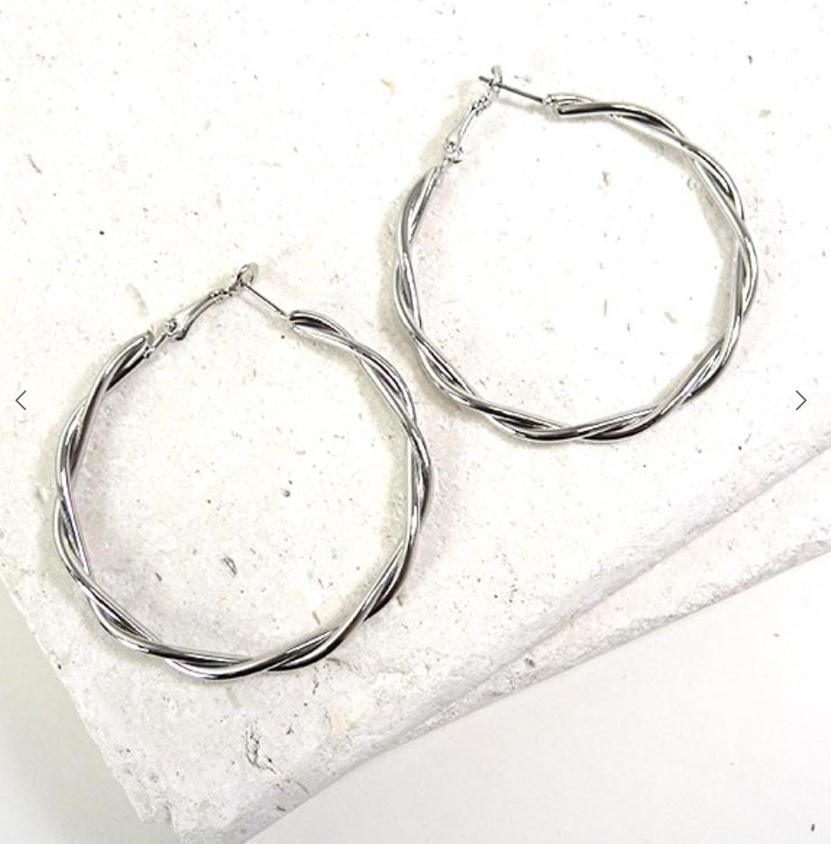Silver Twisted Hoop Earring