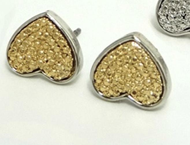 Gold Heart Stud Earring