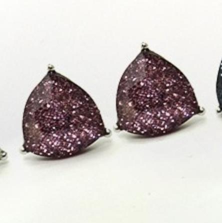 Purple Glitter Triangle Earring