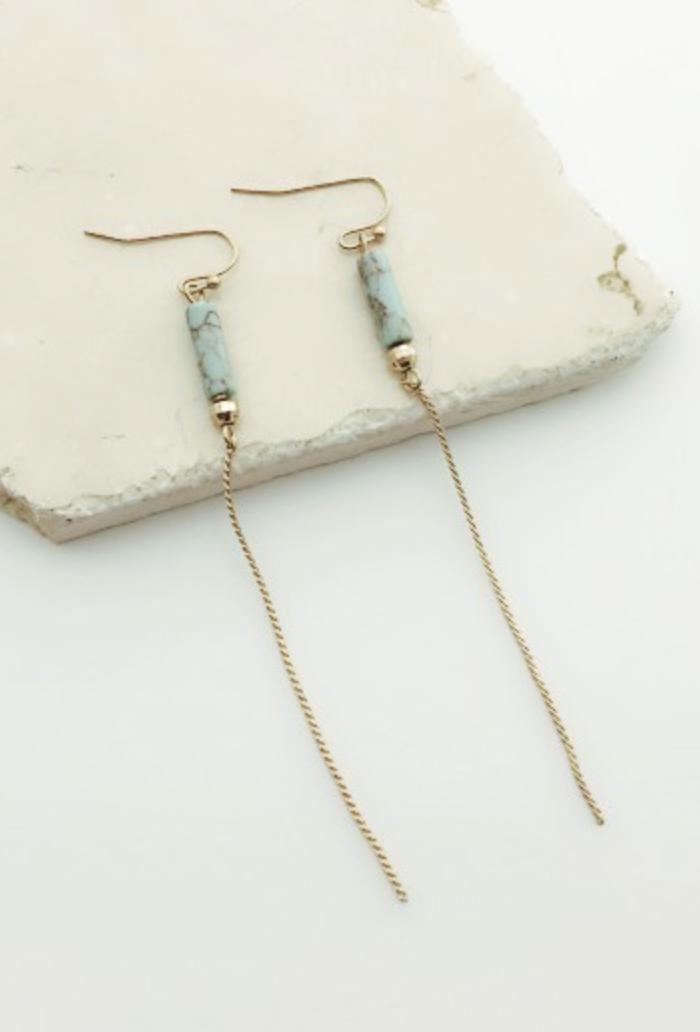 Mint Line Drop Earring