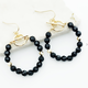 Black Beaded Ring and Bar Earring