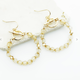 Gold Beaded Ring and Bar Earring