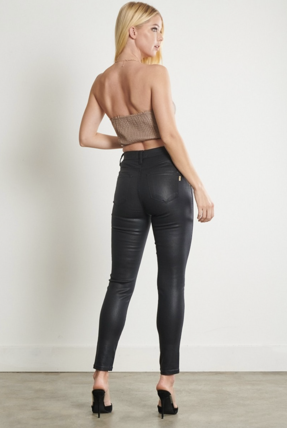 Coated Black Jeans