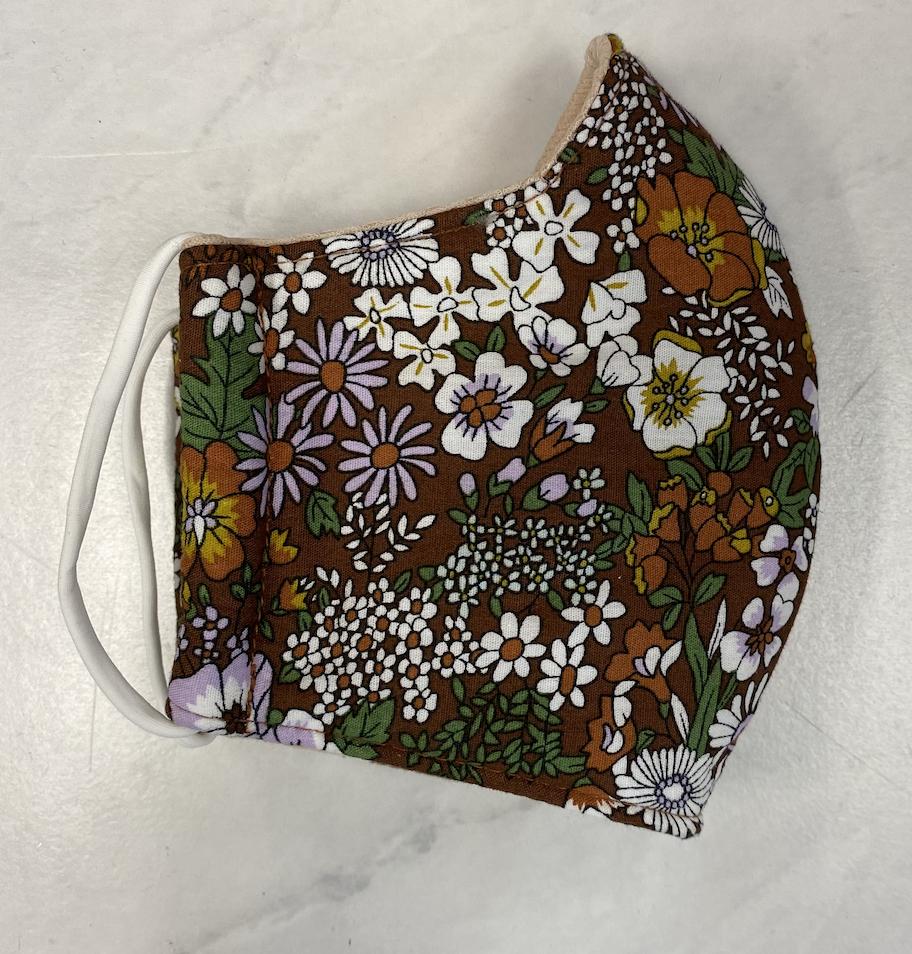 Brown Floral Face Mask