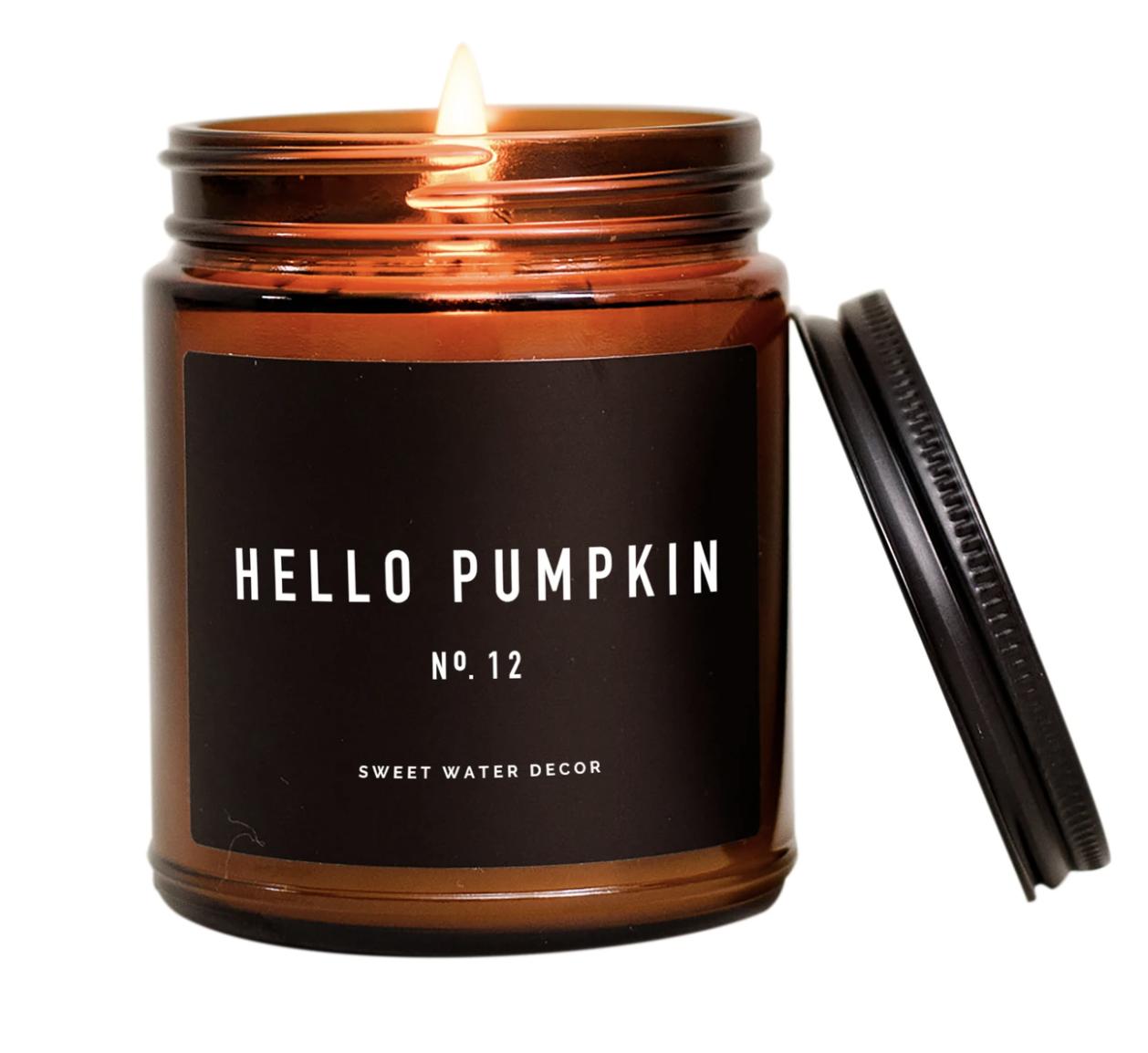 Hello Pumpkin Candle Amber Jar