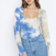 Blue Tie Dye Square Neck Bodysuit