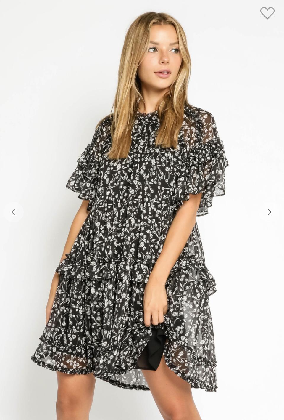 Black Floral Babydoll Dress