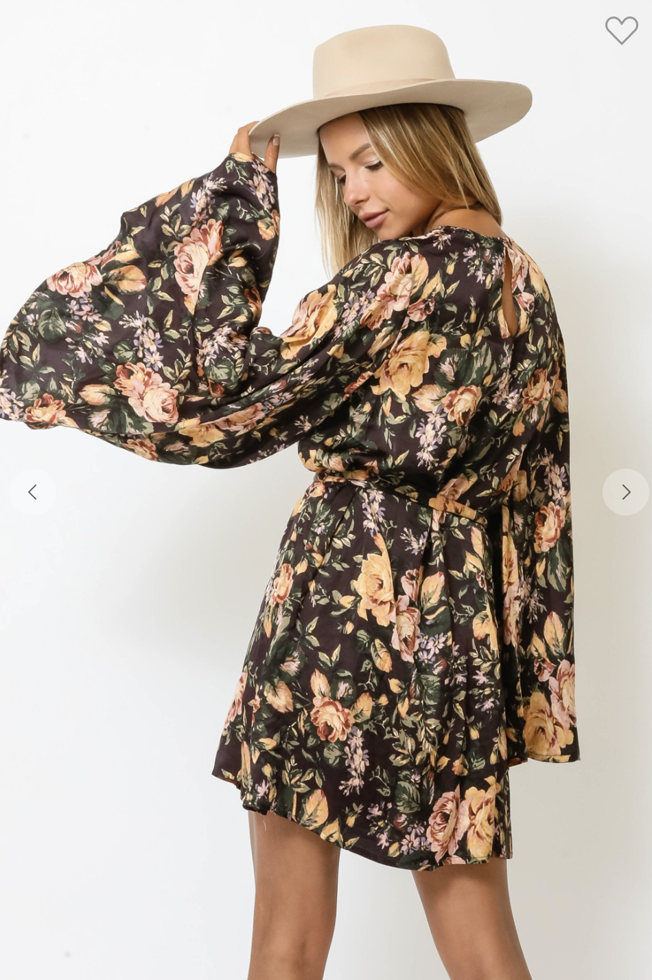 Vintage Rose Bell Sleeve Dress