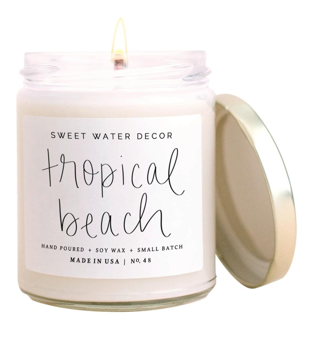 Tropical Beach Candle Clear Jar