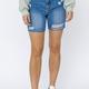 High Waisted Midi Thigh Denim Shorts