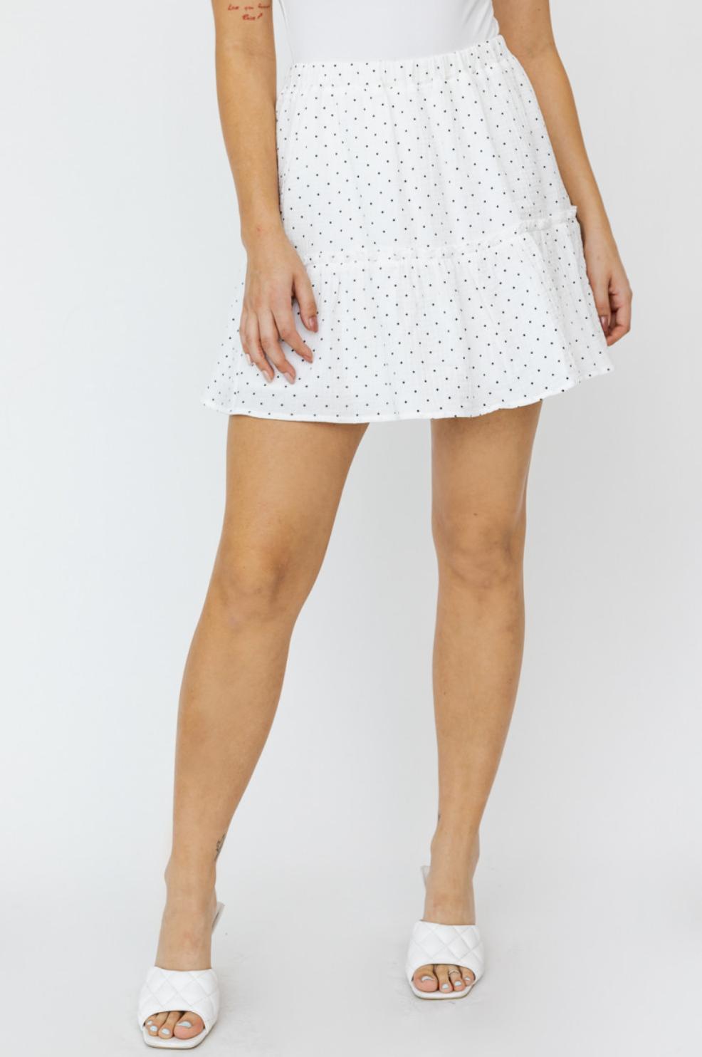 Polka Dot Waist Tie Flare Skirt