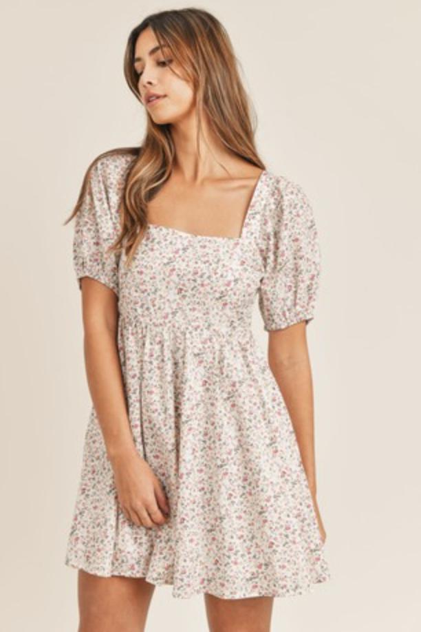 Back Tie Floral Babydoll Dress