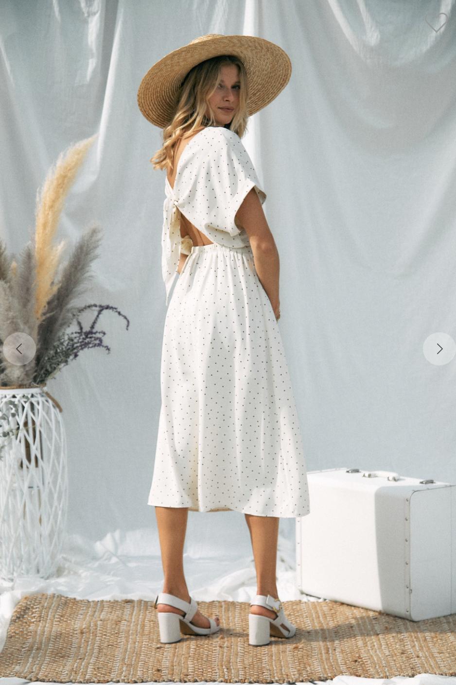 V Neck Dot Midi Dress