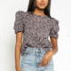 Purple Floral Puff Sleeve Top