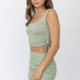 Sage Pieced Mini Skirt