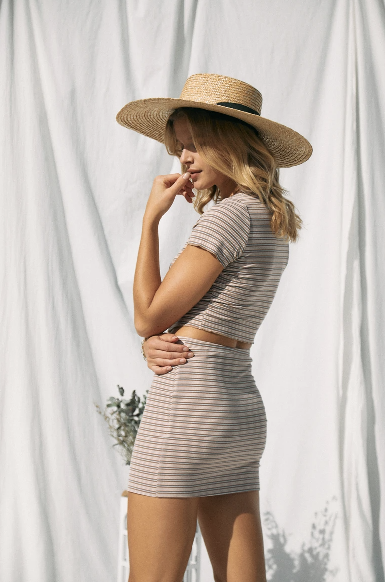 Cropped Striped Short Sleeve Top