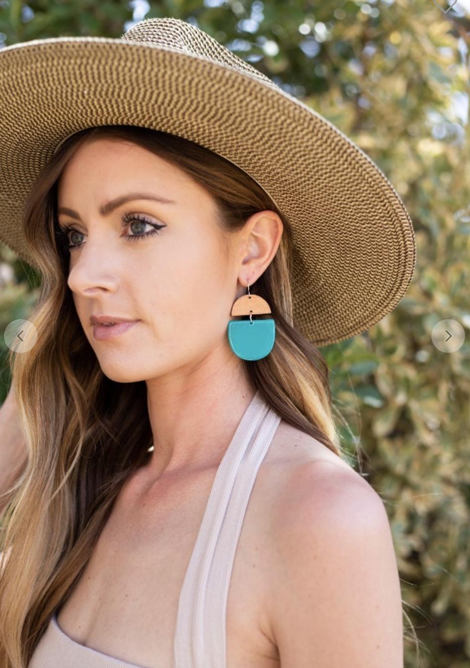 Aqua Deco Drop Earrings