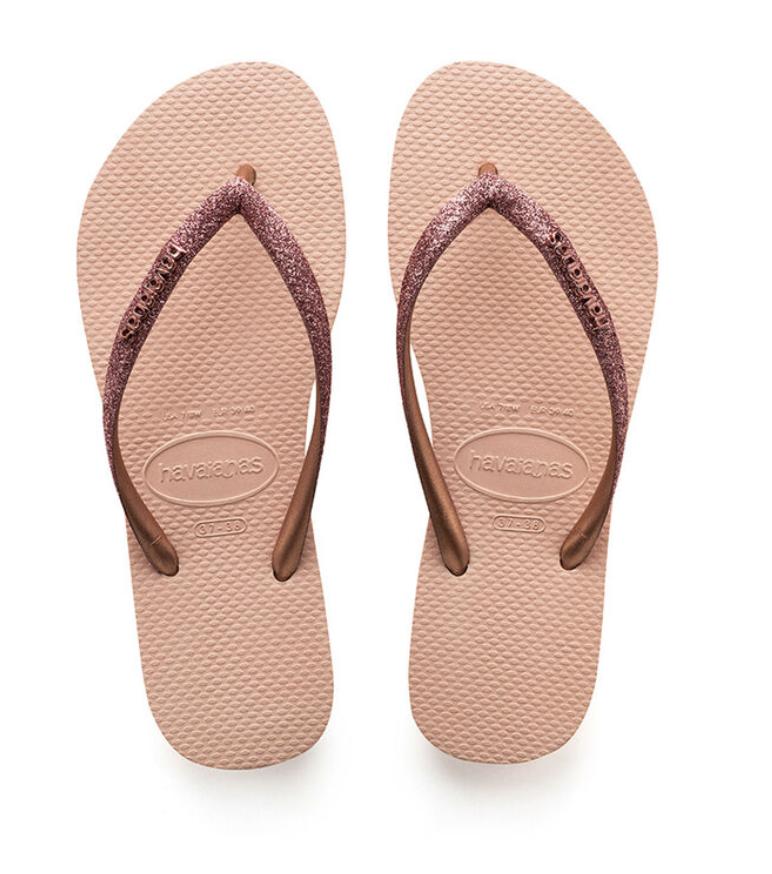 Havaianas Slim Glitter Flip Flop - Crocus Rose
