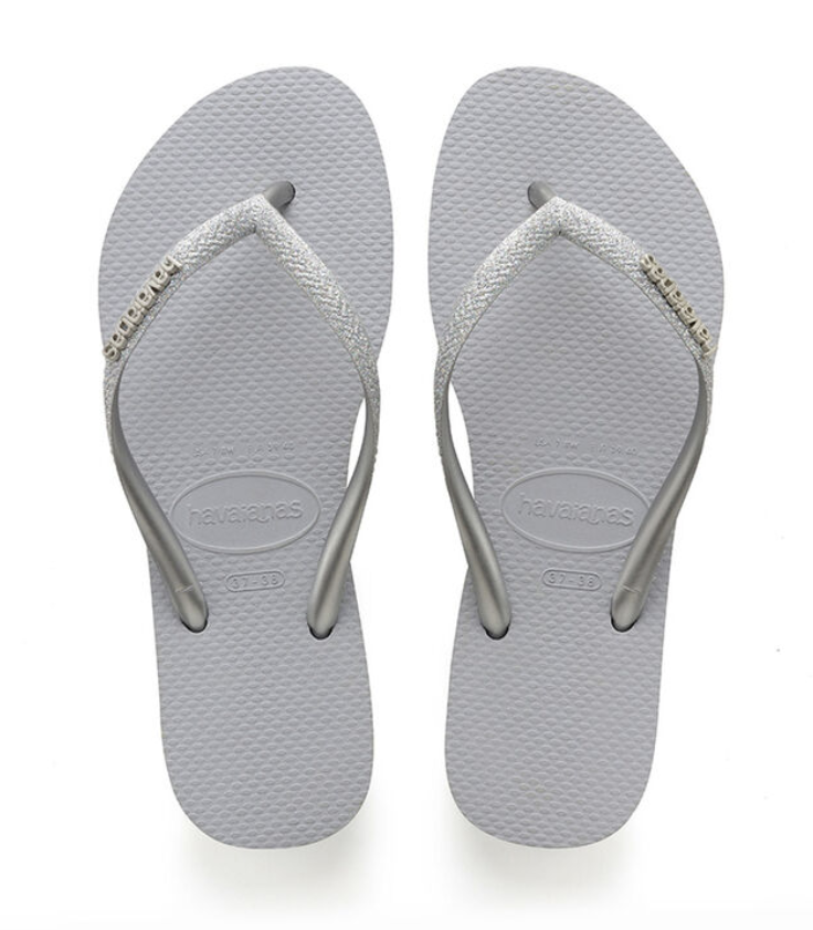 Havaianas Slim Glitter Flip Flop - Ice Grey