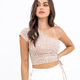 Tan One Shoulder Ruched Top