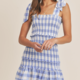 Blue Smocked Mini Dress