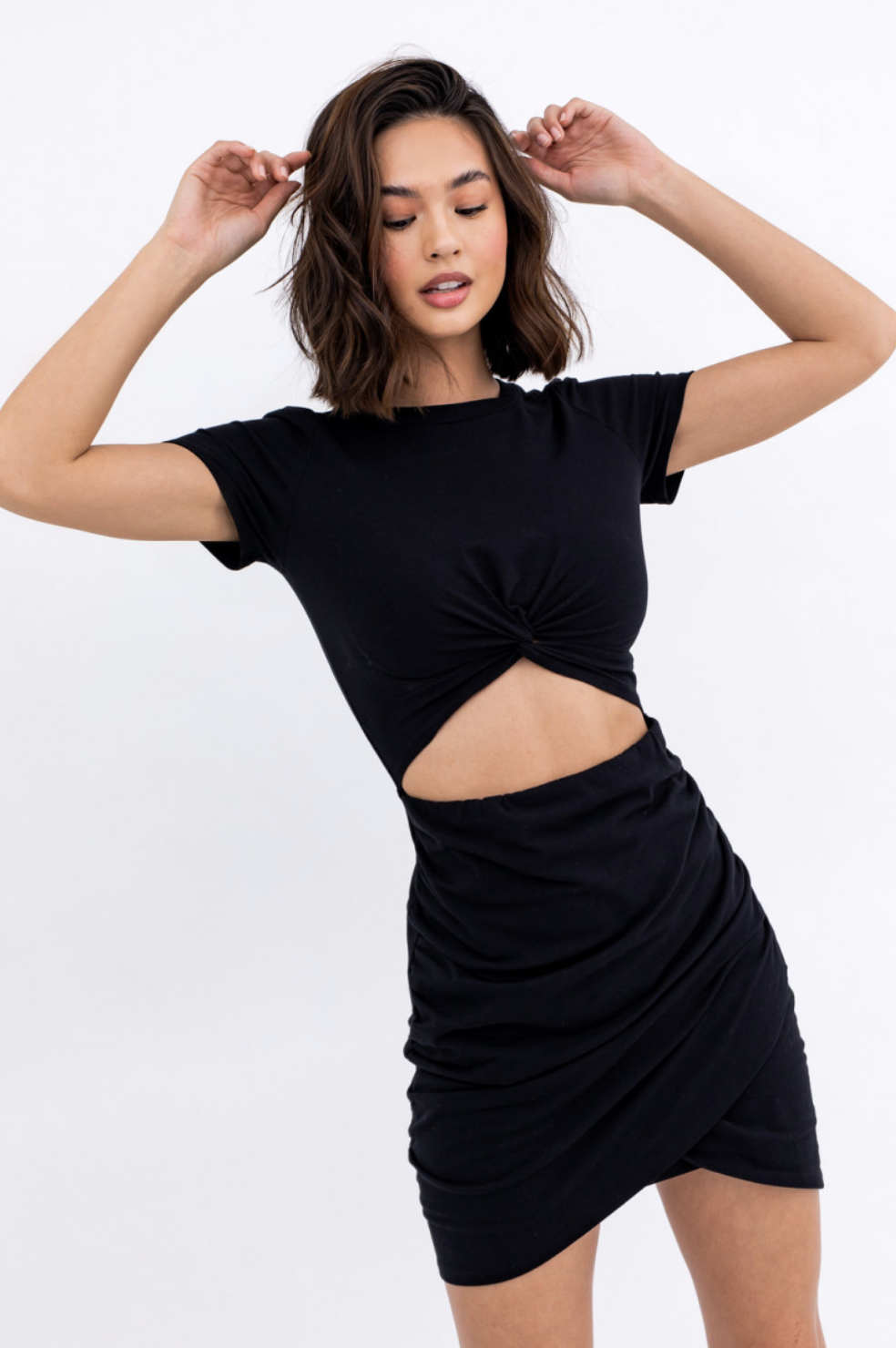 Black Front Twist Dress