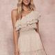 One Shoulder Floral Ruffle Dress