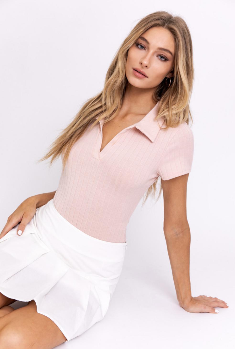 Pink Collared Bodysuit